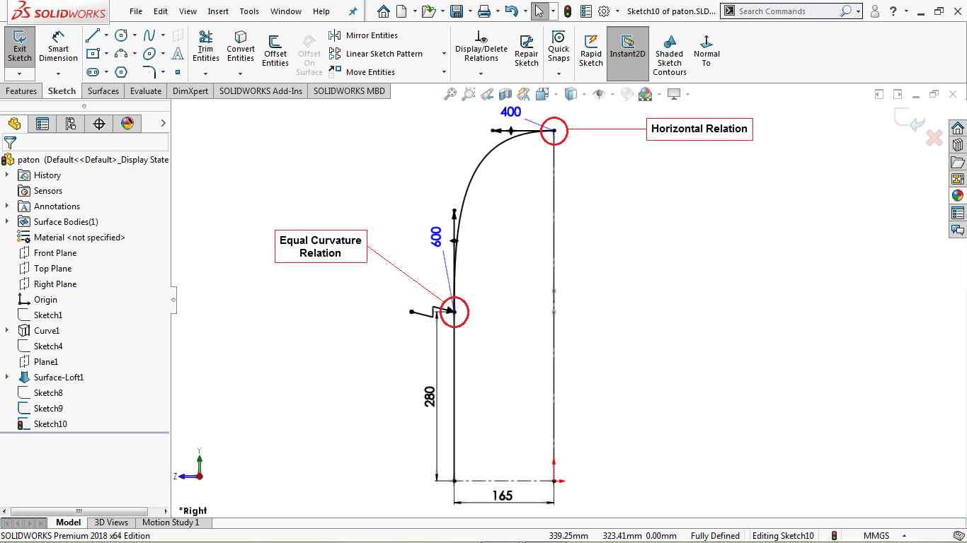 A fully defined spline in solidworks