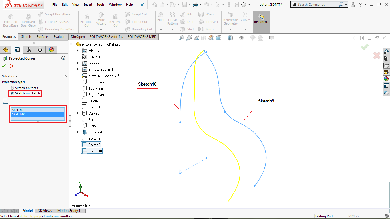 Sketch on sketch projection curve in solidworks