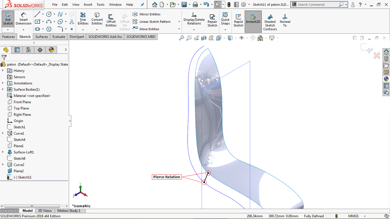 a A fully defined Diagonal line in solidworks