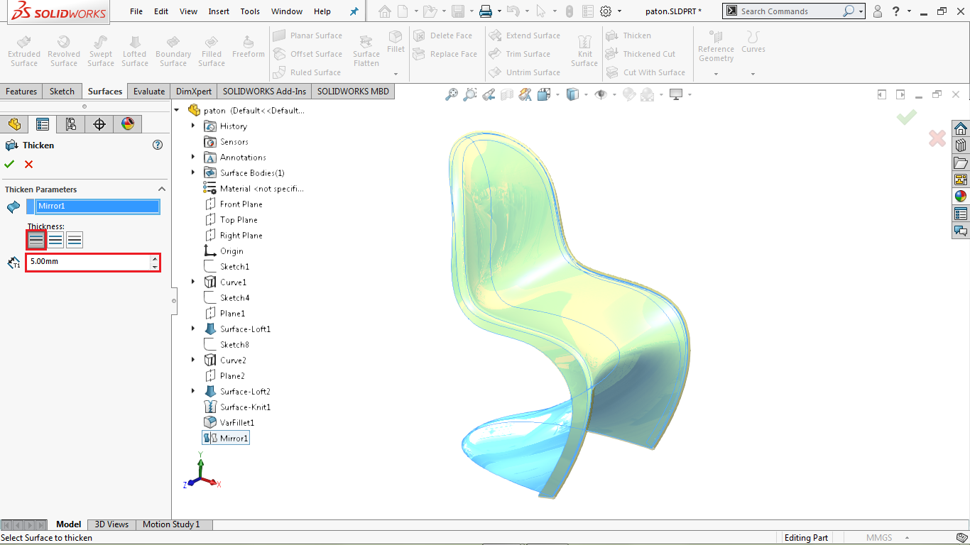 Thicken command in solidworks