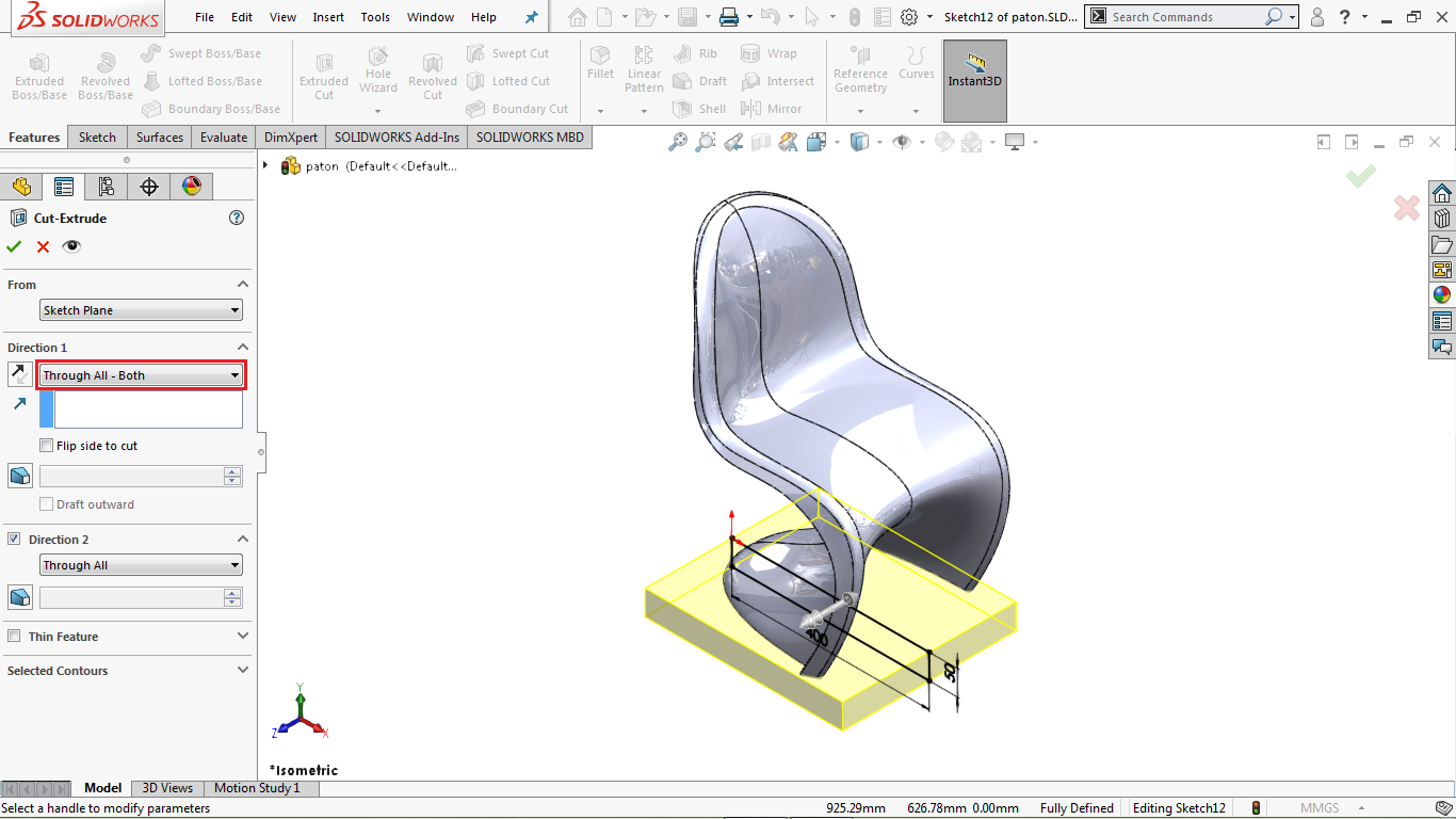 Through All Extrude Cut in solidworks