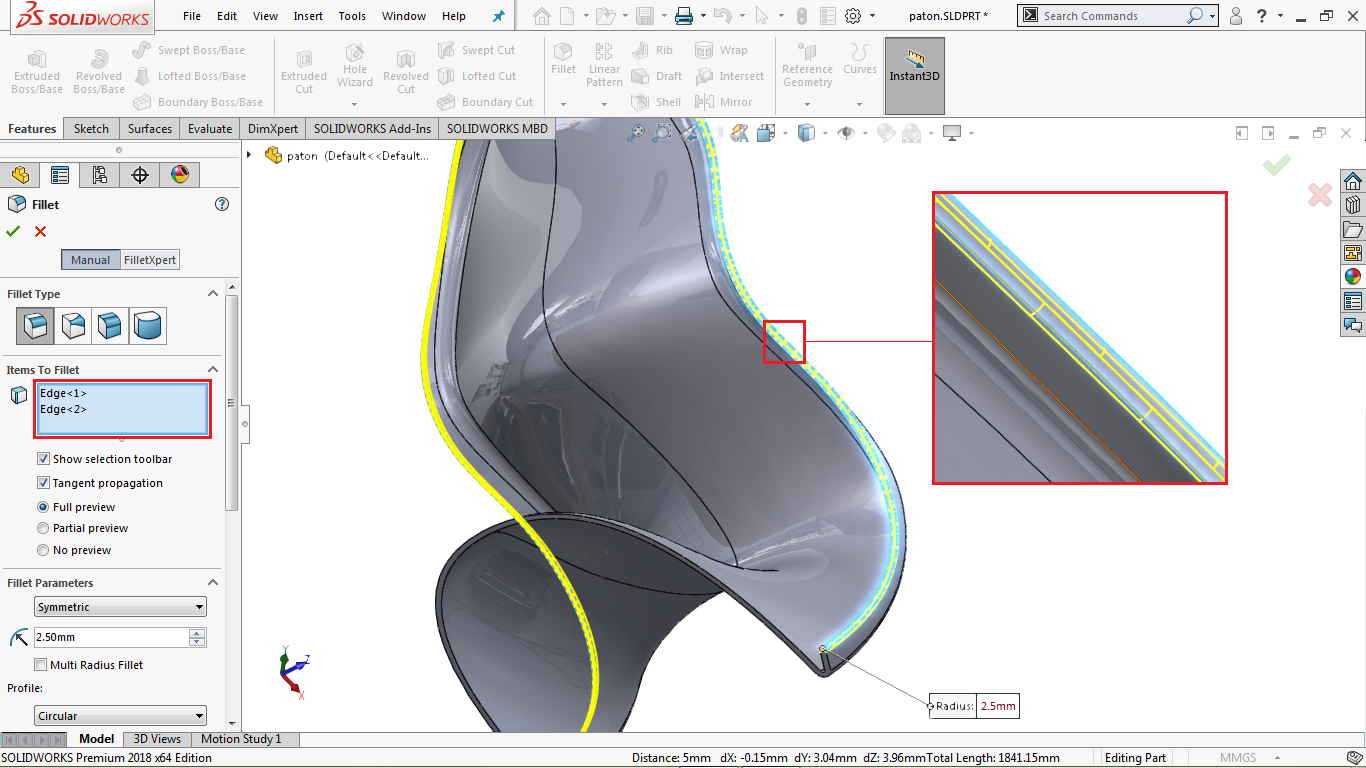 Fillet command in solidworks