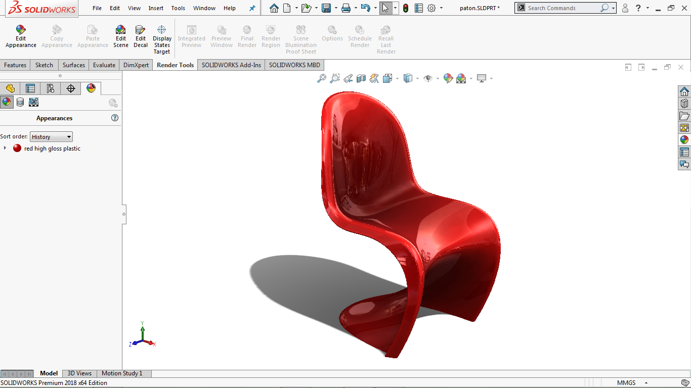 Real View image of panton chair in solidworks