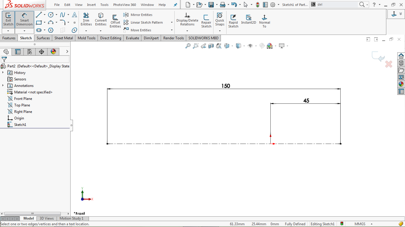 Fully defined centerline in solidworks