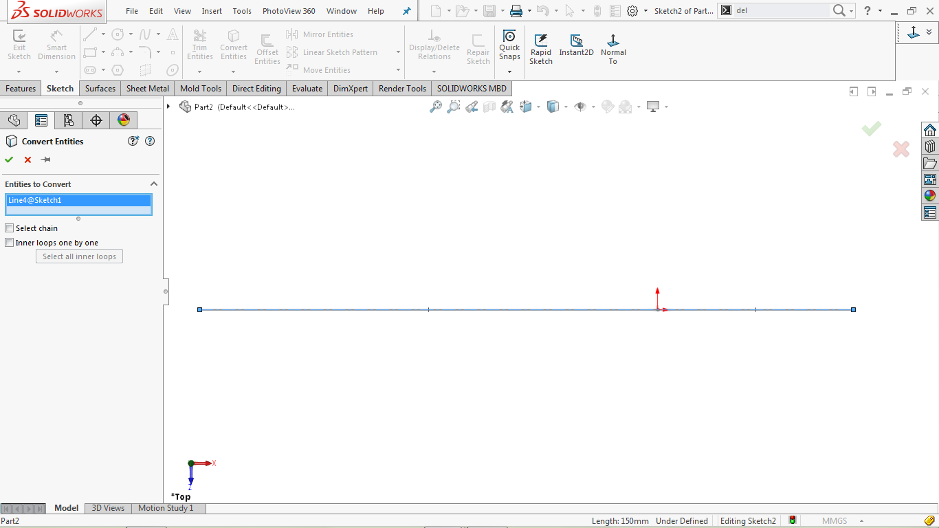 Convert entities tool in solidworks