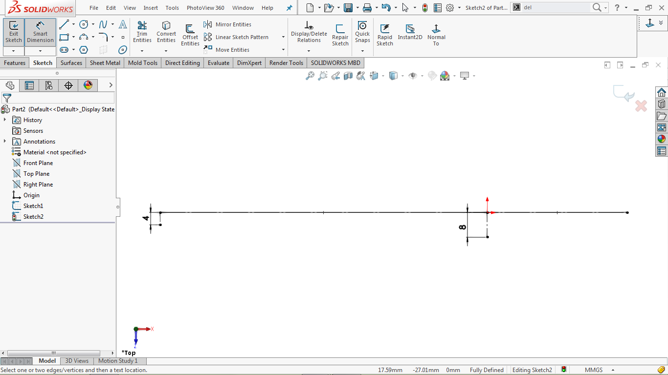 Fully defined sketch in solidworks