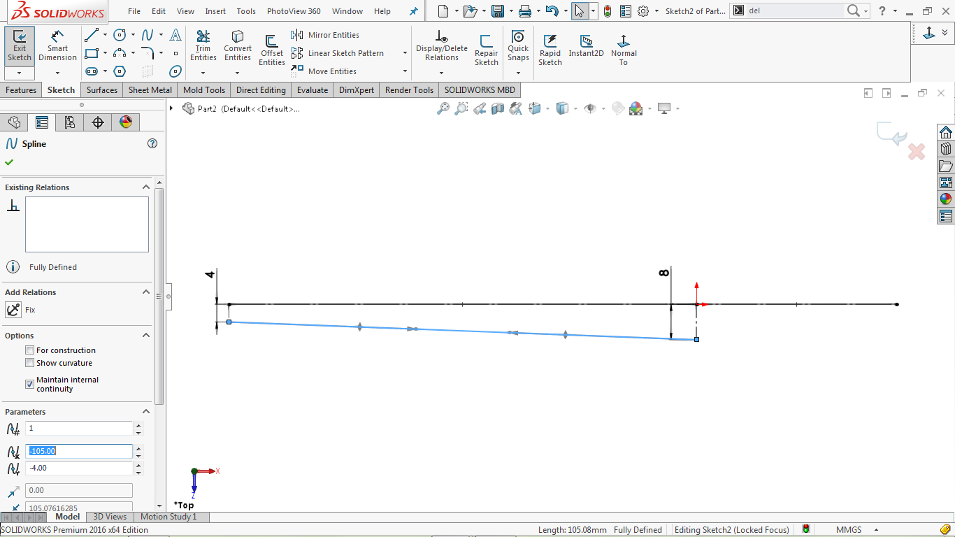 Undefined spline in solidworks