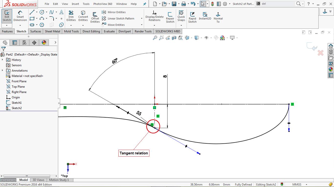 Assigning tangent relation between splines in solidworks