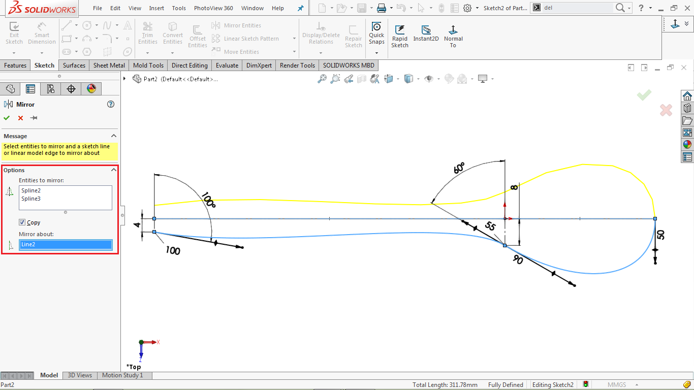 Mirror sketch tool in solidworks