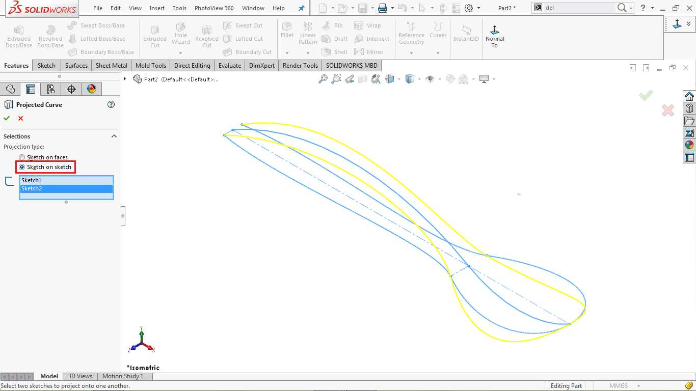 project curve tool in solidworks
