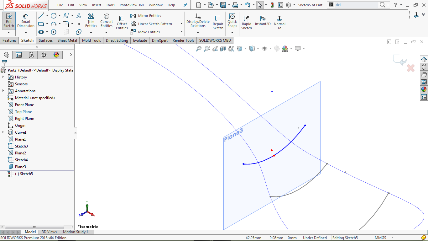 Undefined 3 point arc in solidworks