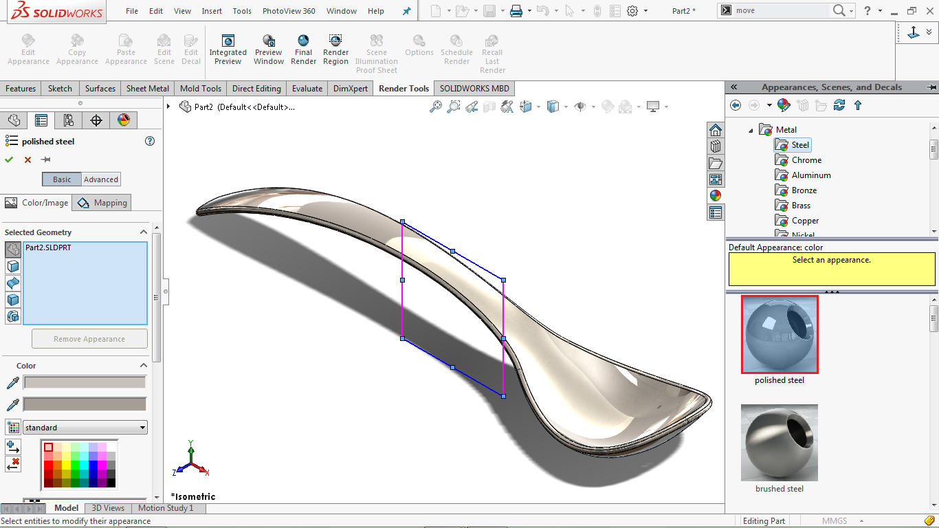 Changing the appearance in solidworks