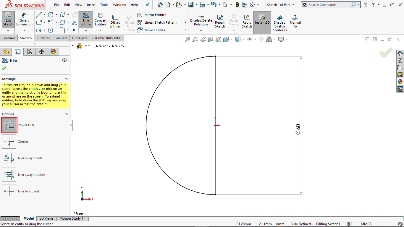 Semicircle in solidworks