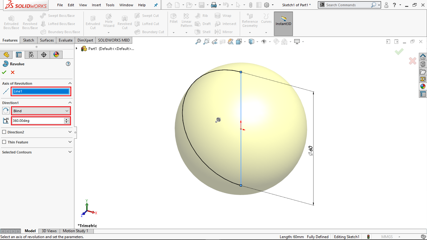 Revolve boss in solidworks