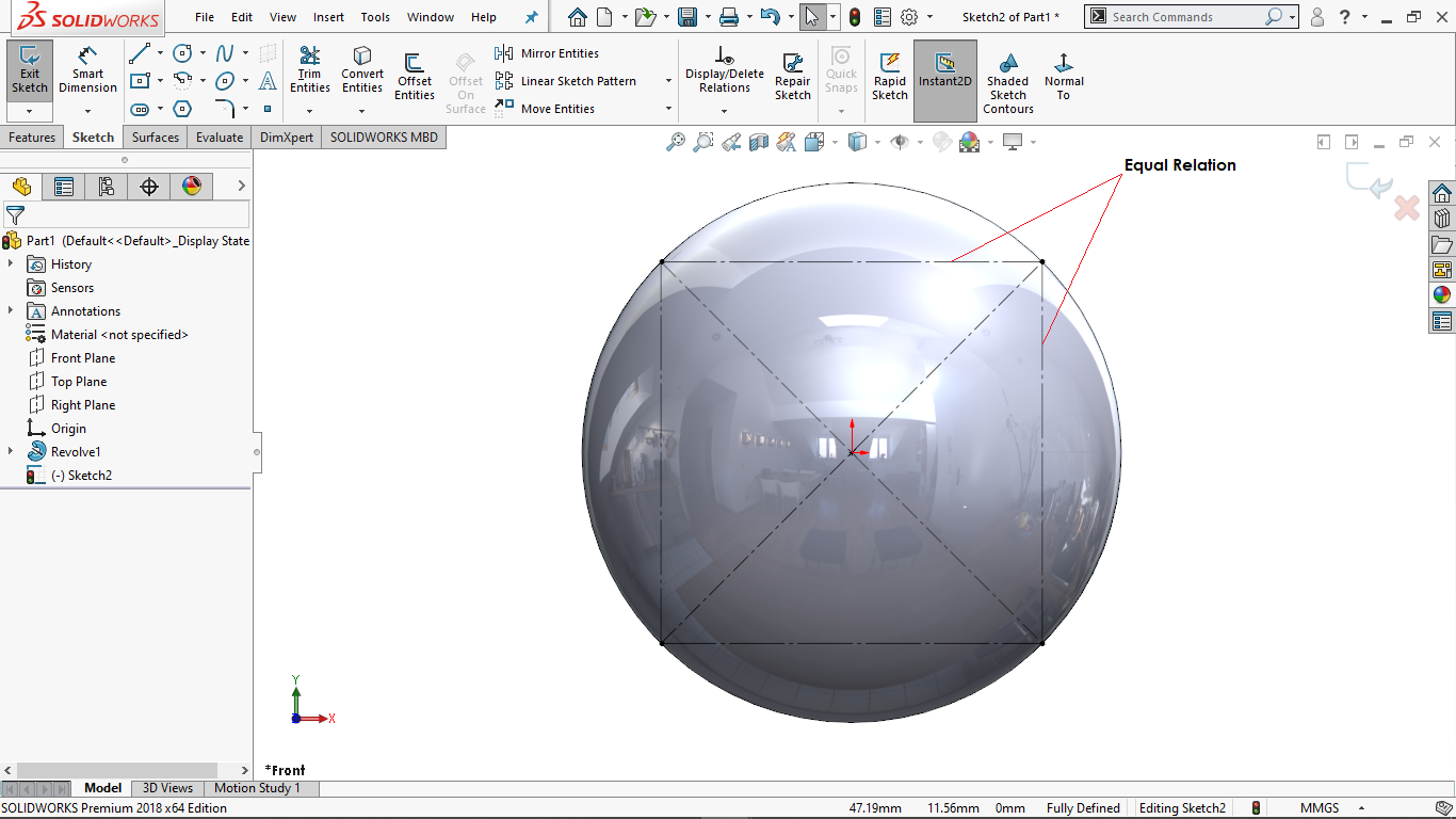 Equal relation in solidworks
