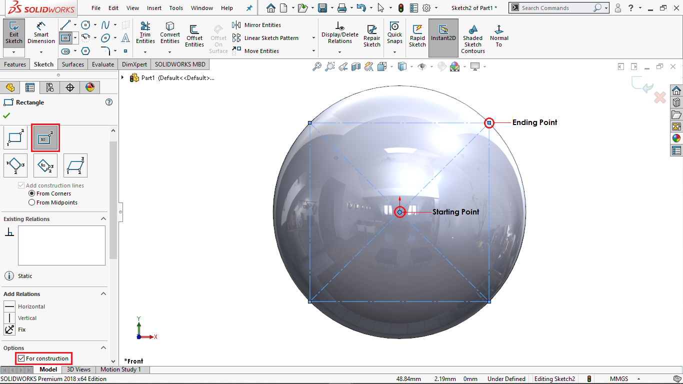 construction center rectangle in solidworks