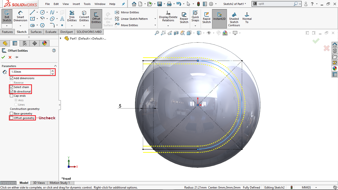 Bidirectional Offset entity in solidworks