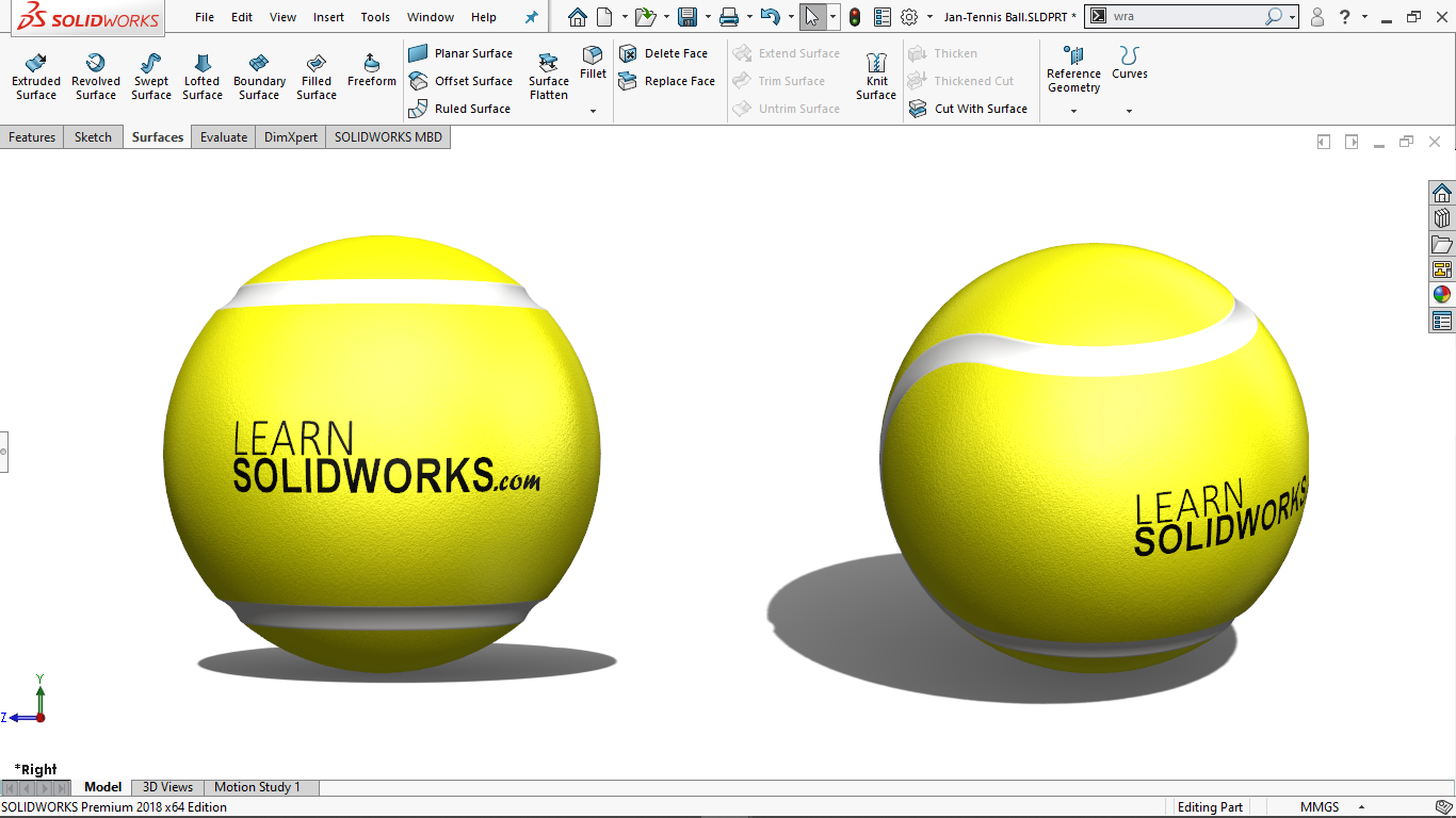 Real view image of a Tennis Ball in solidworks
