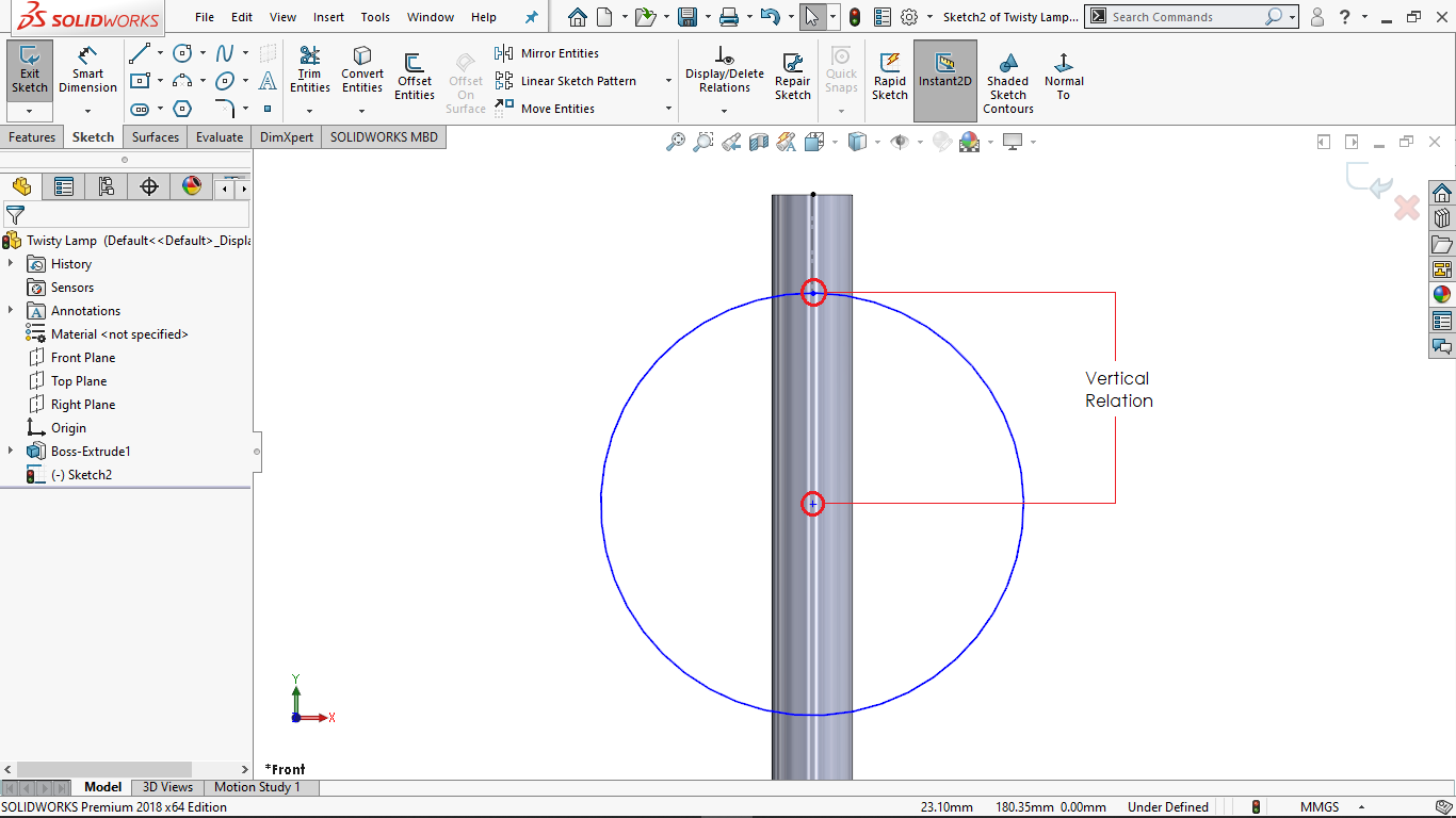 Undefined Sketch in solidworks