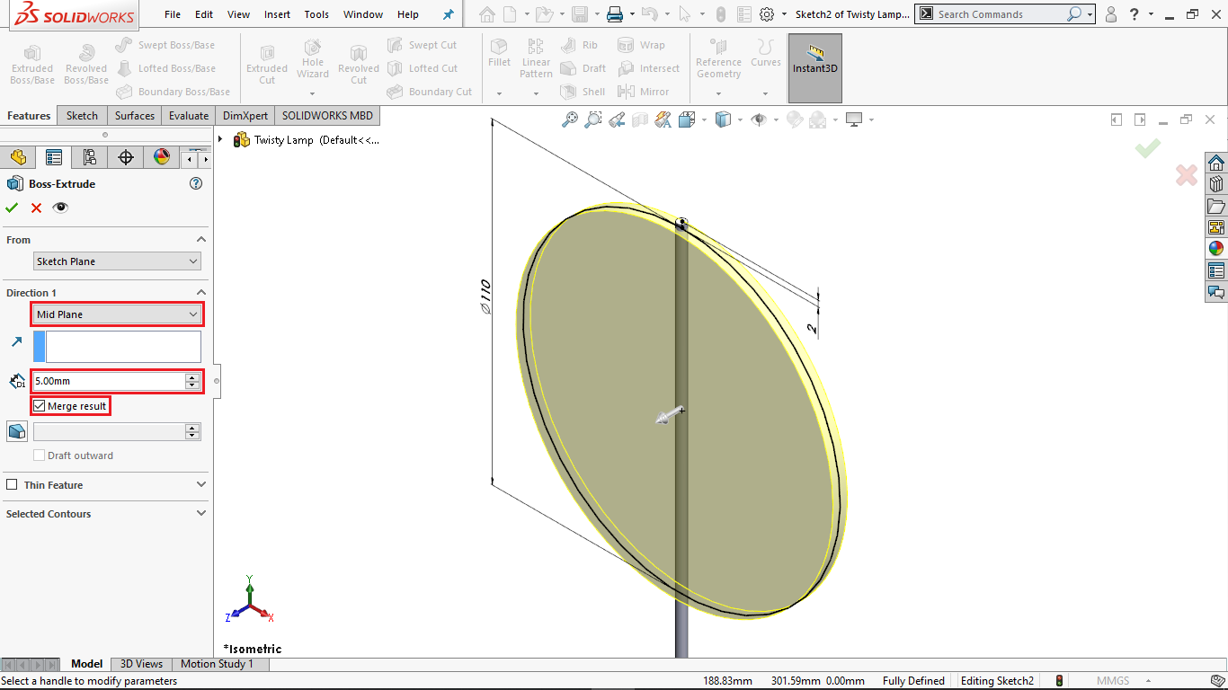 Mid plane extrusion in solidworks