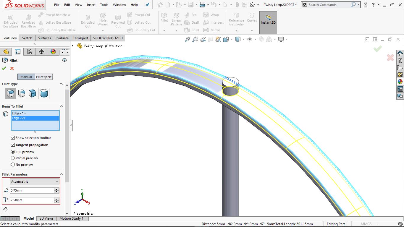 Asymmetric Fillet in solidworks