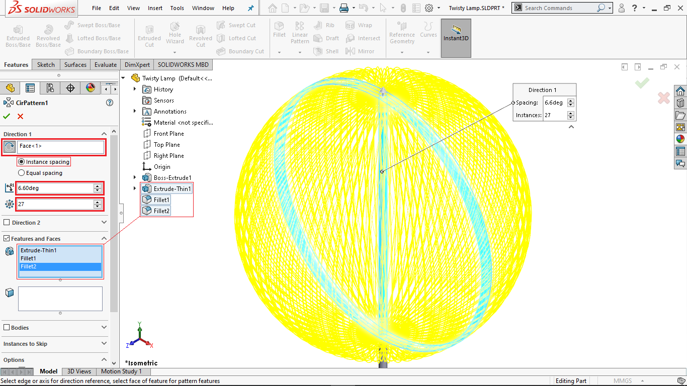 Circular pattern with instance spacing in solidworks