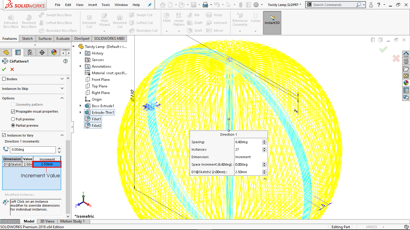 Defining increment values for variable instances in solidworks