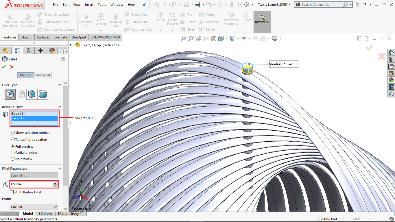 Applying fillets on faces in solidworks