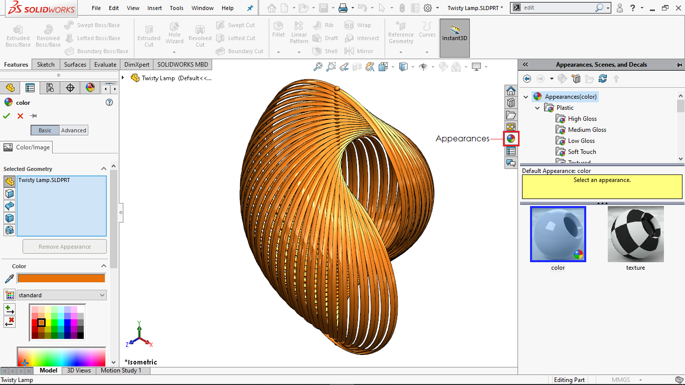 Changing appearance of a part in solidworks
