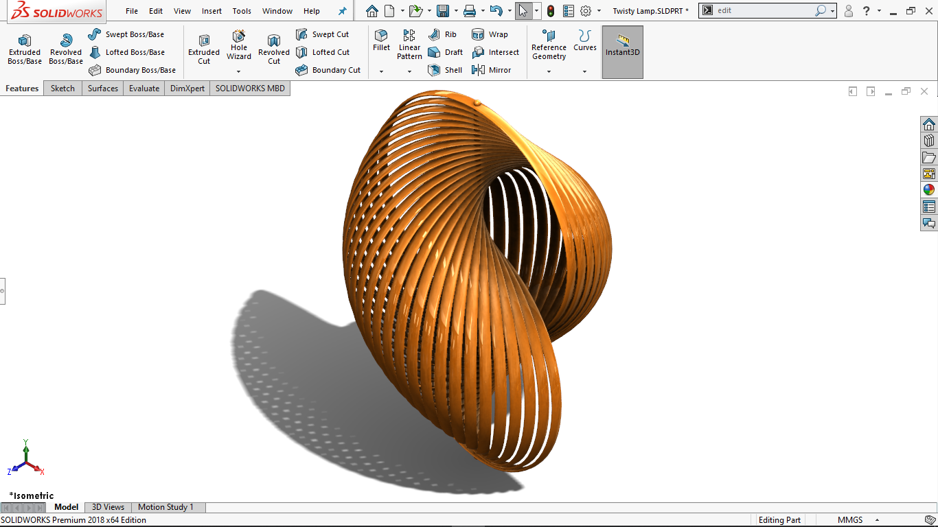 Real view image of a Lamp design in solidworks