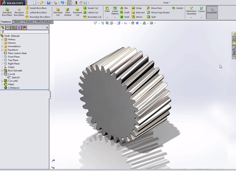 Creating Spur and Helical Gears in SolidWorks