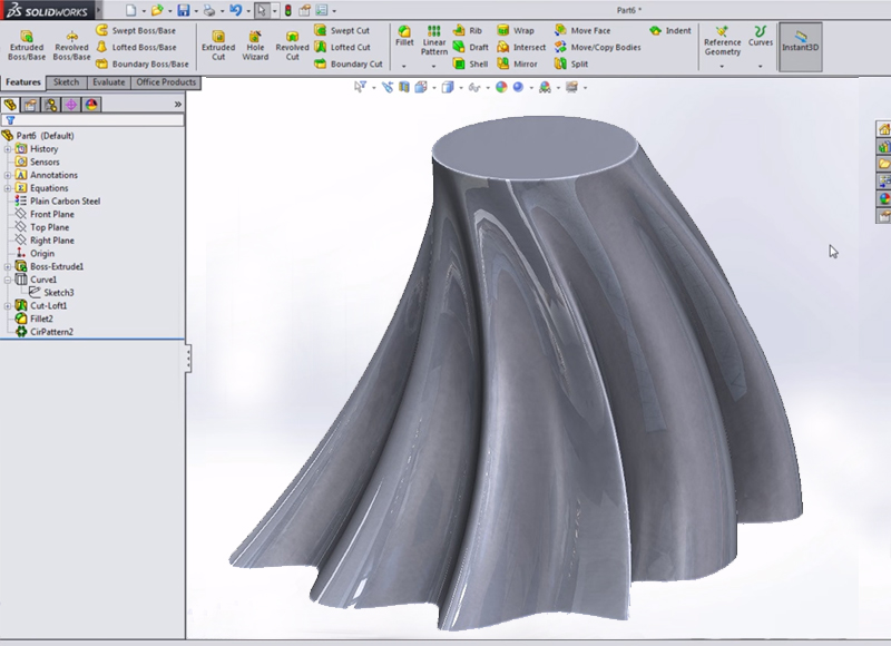 SolidWorks loft with 2 profiles and 1 guide curve