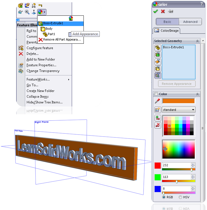 Change feature color in SolidWorks