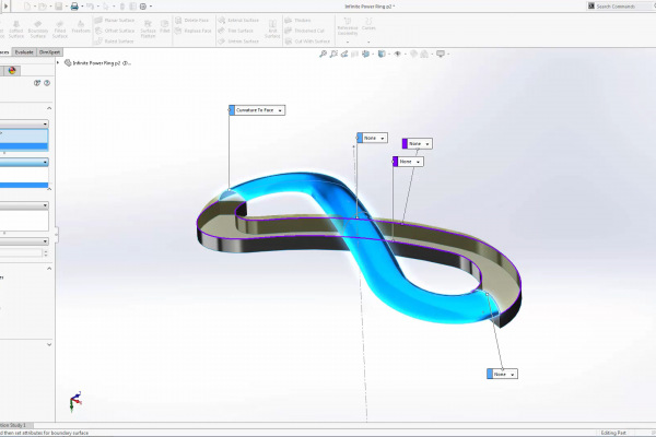 solidworks ring tutorial, model the infinite power symbol